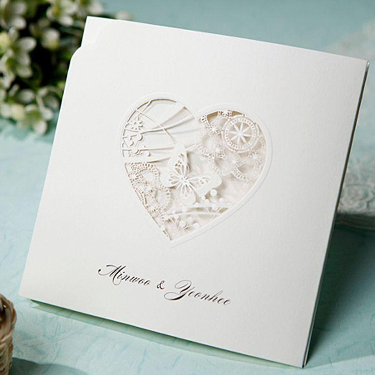 Mariage - [B*Hands Card] 1 Sample Set Wedding Invitations Laser Cut Buterfly Lace BH1008