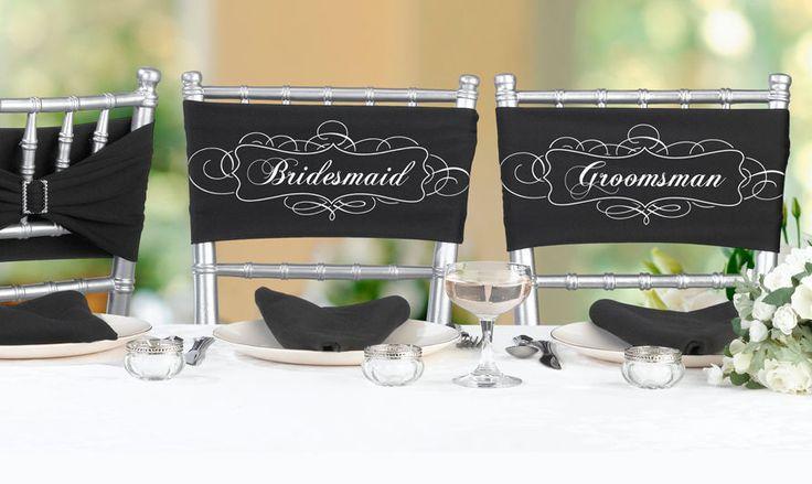 Свадьба - Bridesmaid & Groomsman Black Wedding Chair Sashes W/ Rhinestone Clasp