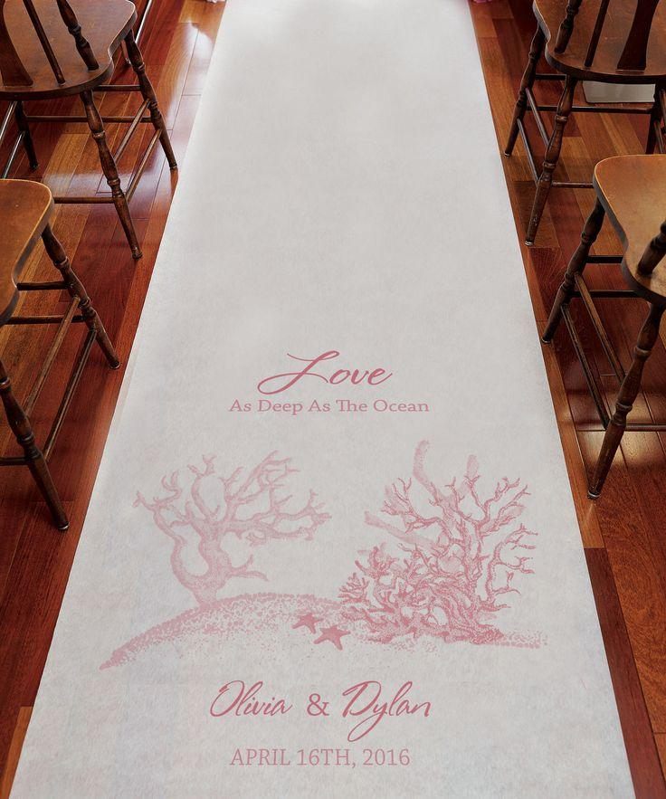 Wedding - Reef Coral Beach Theme PERSONALIZED Aisle Runner Wedding Ceremony Decoration