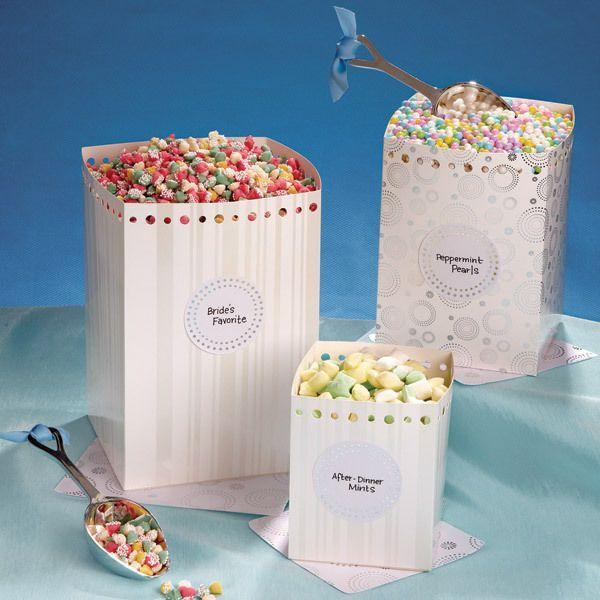 زفاف - Wilton Wedding Party Candy Buffet 3pc Square Set With Stickers And Doilies