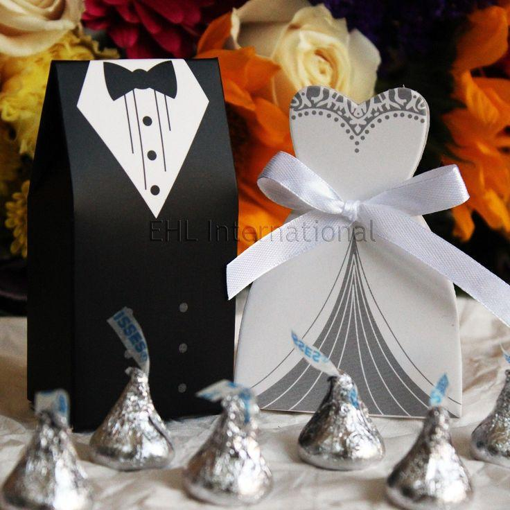 Свадьба - 100pcs DRESS & TUXEDO Wedding Party Favor Candy Box Gift [Black, White & Silver]