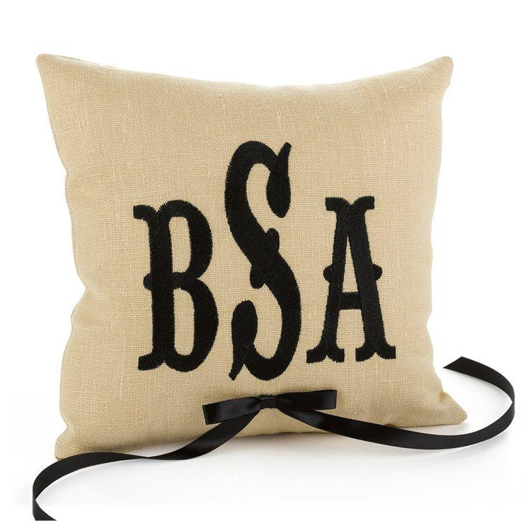 Monogram Wedding Ring Bearer Pillow: Custom Embroidery Color Monogram Personalized Linen Ring