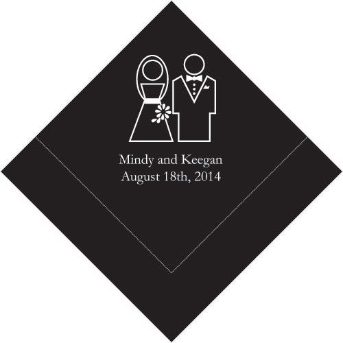 Wedding - 100 Stylized Couple Printed Wedding Cocktail Napkins