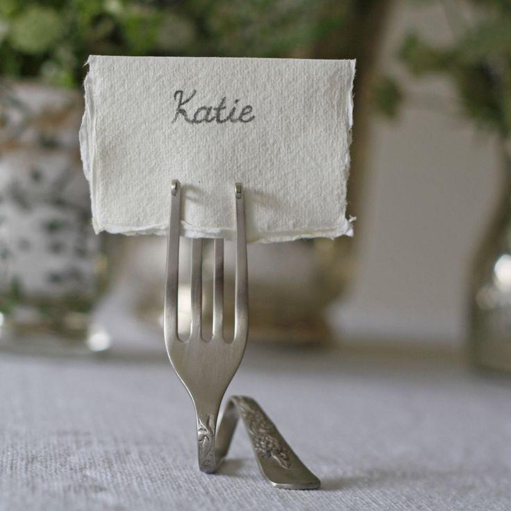 زفاف - 4 X Fork Place Card Holders