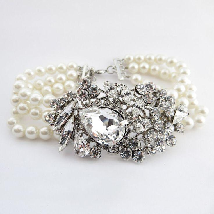 Mariage - Stunning Antique Silver Rhinestone And Pearl Wedding Bracelet