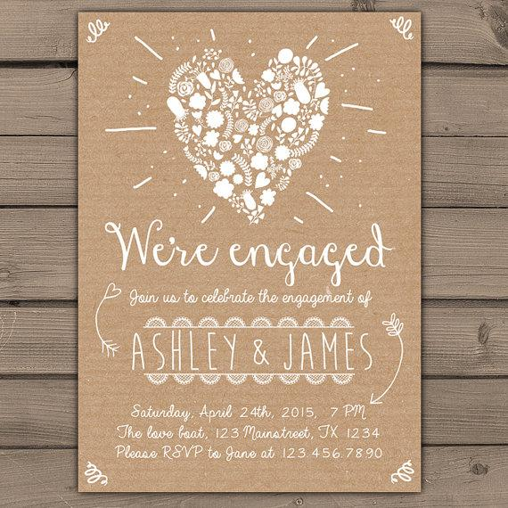 engagement party invitation engagement party invite engagement dinner wedding invite rustic shabby chic heart flowers paper diy printable new - Engagement Party Invite