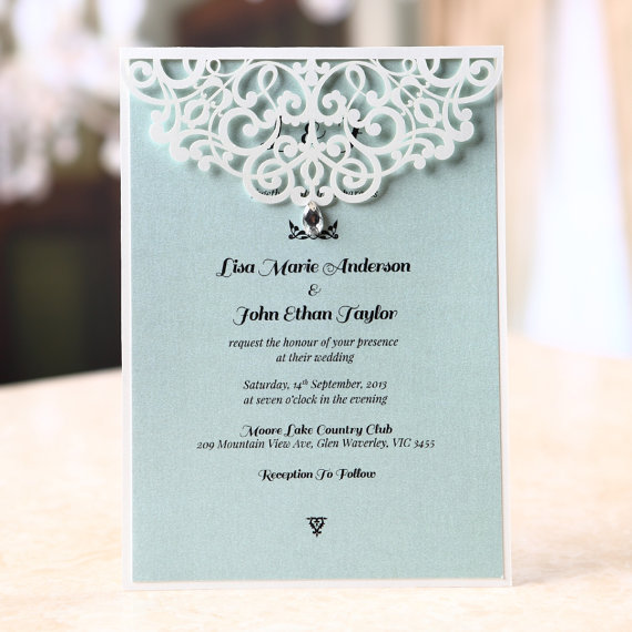 Jeweled Laser Cut Wedding Invitation Sample BH1660 New