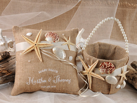 Flower Girl Basket Amp Ring Bearer Pillow Set Rustic