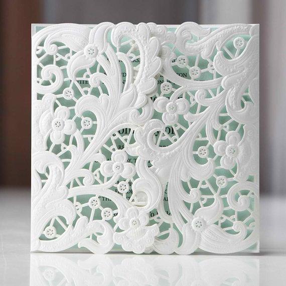 زفاف - Gatefold Floral Laser Cut - Wedding Invitation Sample (BH3660) - New