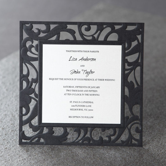 زفاف - Scrolling Grandeur Layered Laser Cut - Wedding Invitation Sample (BH3602) - New