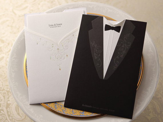 Wedding - Modern Times Vintage Pocket – Wedding Invitation Sample (BH2129) - New