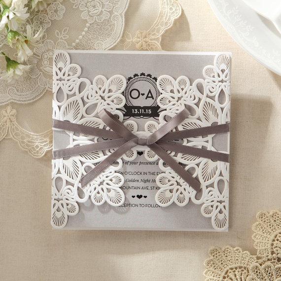 Elagant Laser Cut Wrap Wedding Invitation Sample Iwp14035 Gy