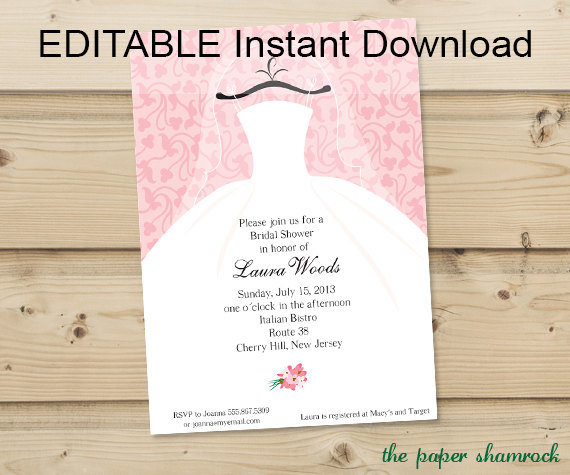 editable wedding invitation templates free download - editable instant download bridal shower invitation