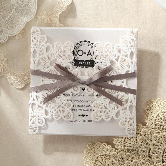 Wedding - Elagant Laser Cut Wrap - Wedding Invitation card