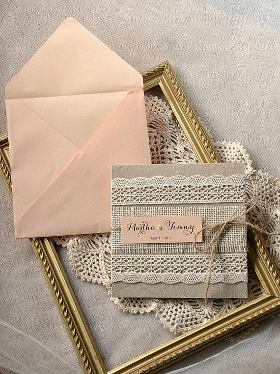 Mariage - Rustic Wedding Invitation -  Lace wedding InvitationPeach  Wedding Invitation