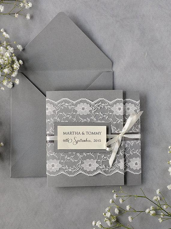 Ivory Lace Wedding Invitations Grey Wedding Invitation 2218057