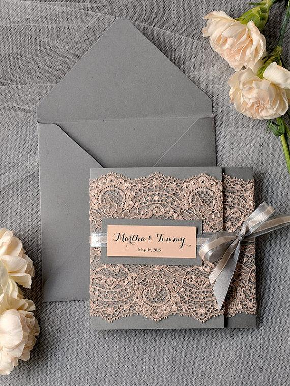 Mariage - Custom listing (100) Peach Wedding Invitations, Lace grey and Peach invitation, Vintage Wedding Invitations - New