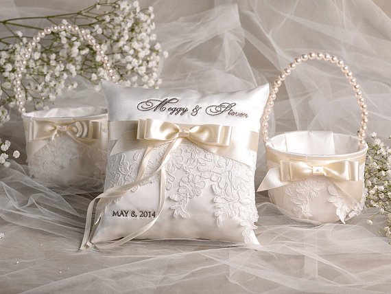 How To Make A Lace Flower Girl Basket : Flower girl basket ring bearer pillow set bowl and lace