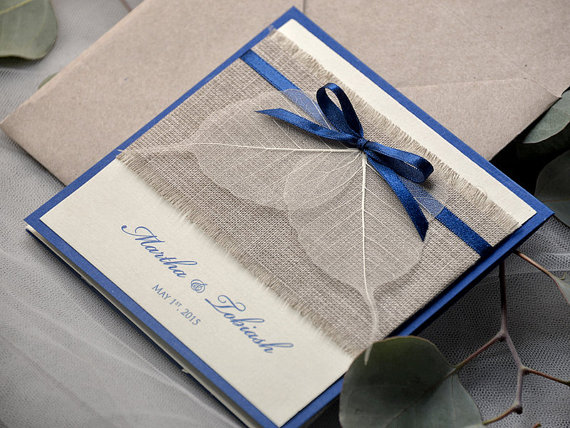 Navy Eco Linen Wedding Invitation Pocket Fold Invitations