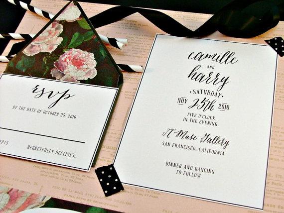 Hochzeit - Pink & Black and White Modern Wedding Invitation Roses Invitation Set - New