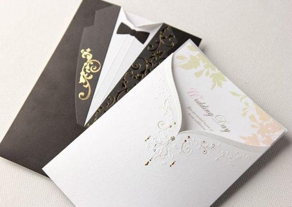 The Great Gatsby Elegant Royal Bride Groom Wedding Invitation set
