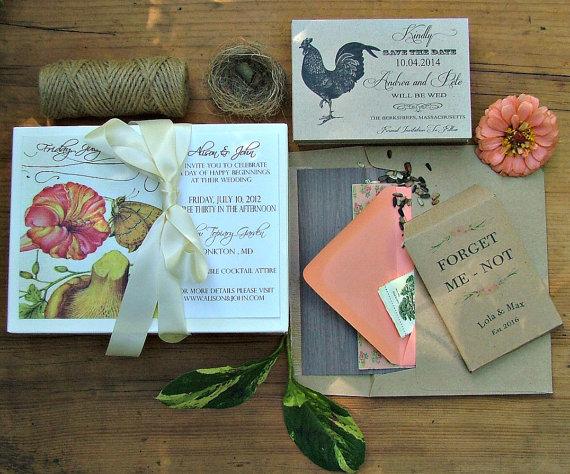 زفاف - Garden Wedding Invitation, Mushroom Butterfly Wedding Invitation, Rustic Wedding Invites, Vintage Botanical Design - New