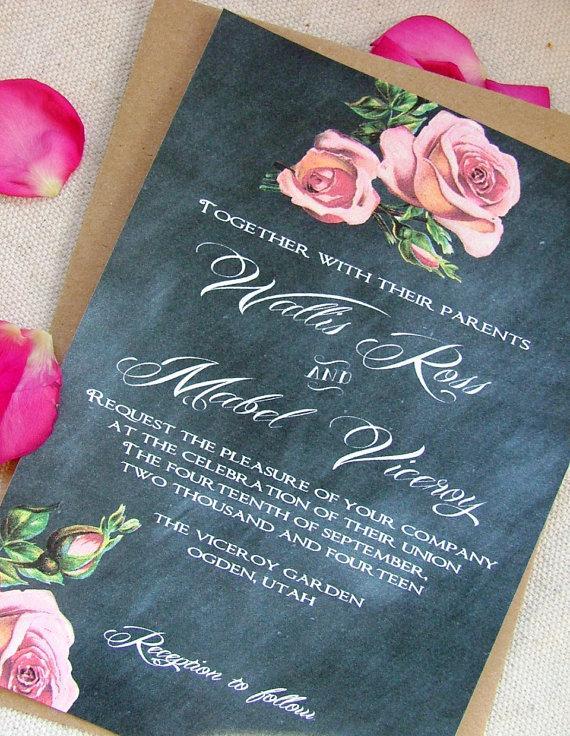 Wedding - Printable Chalkboard Wedding Invitation, RSVP card, DIY, peach roses - New
