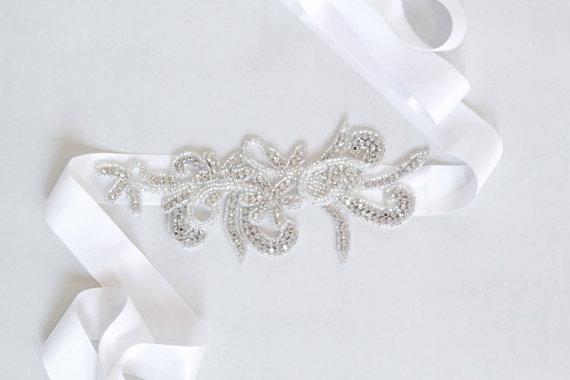 Mariage - Isabelle Bridal Sash Swarovski Crystals Wedding Belt - New