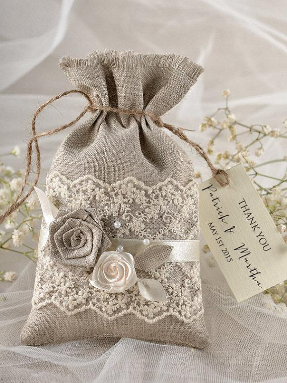 Personalized Wedding Favor Bags And Boxes : Wedding - Rustic Wedding Favor Bag - Lace Wedding Favor Bag