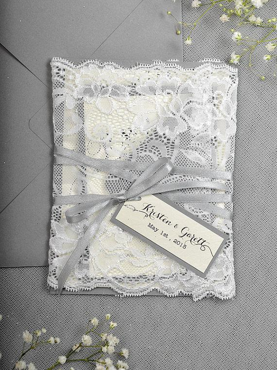 Silver Glitter Wedding Invitation Lace Grey