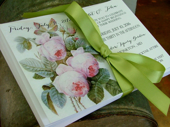 Wedding - Beautiful vintage roses Wedding Invitation set; Invitation, rsvp, lined envelopes - New