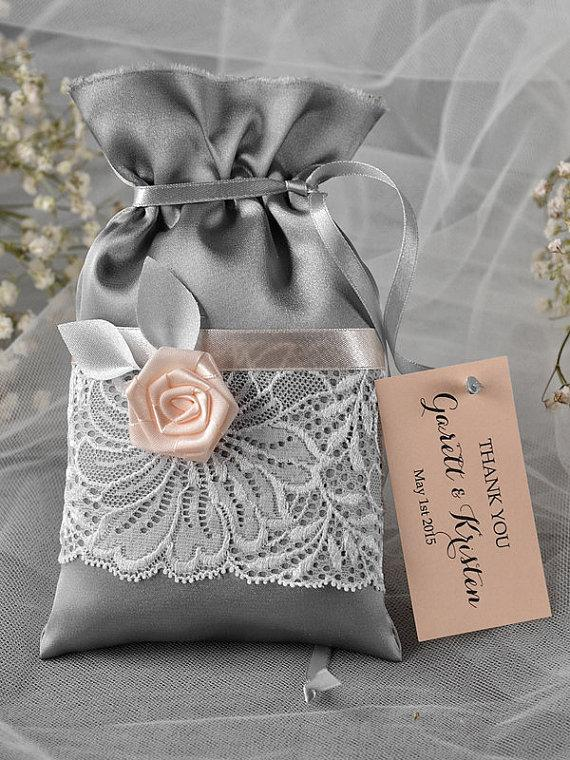Wedding - Custom listing (100) Grey and Peach Wedding Favor Bag, Lace Wedding Favor Bags , Wedding Thank You Favor Bags,  Grey Wedding Gift Bag - New