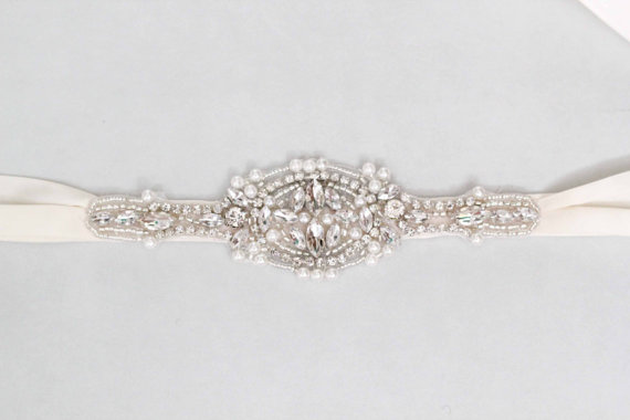 Mariage - Selma Bridal Sash Swarovski Crystals Wedding Belt - New