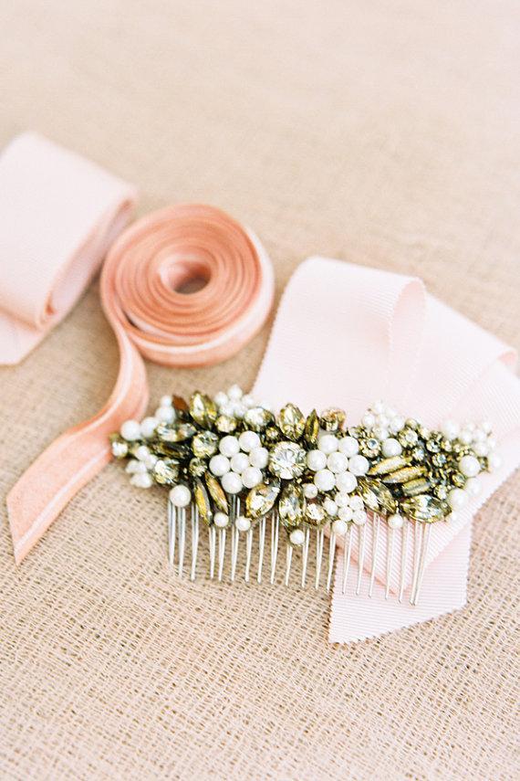Mariage - Megara Gold Bronze Crystal Bridal Headpiece Wedding Comb - New