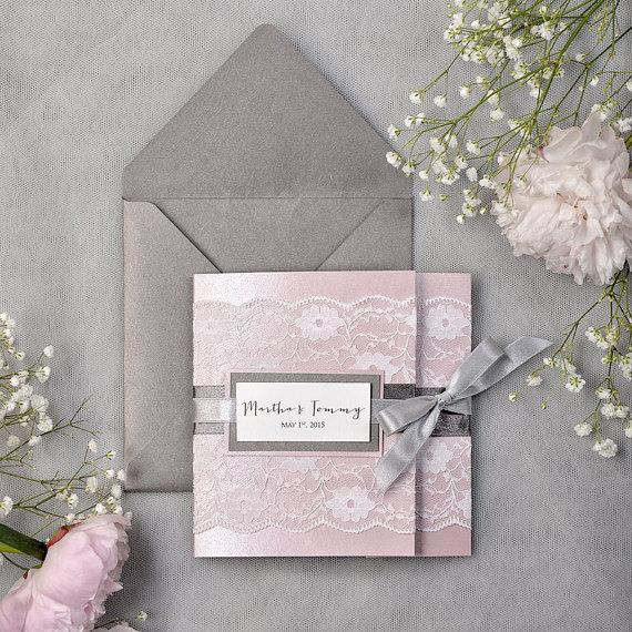 Dark grey and pink lace wedding invitation express order pocket dark grey and pink lace wedding invitation express order pocket fold wedding invitations filmwisefo Image collections