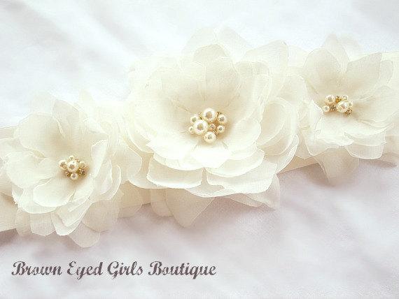 Свадьба - Ivory Bridal Sash, Ivory Bridal Sash, Ivory Wedding Belt, Ivory Bridal Belt - New