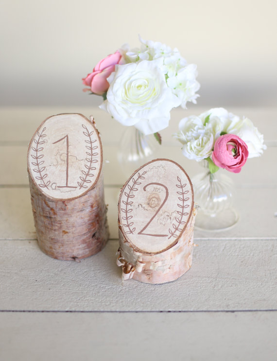 Wedding - Rustic Birch Table Numbers Laurel Wreath Barn Country Wedding Decor NEW 2014 Design by Morgann Hill Designs - New