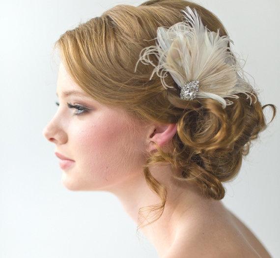Mariage - Wedding Fascinator, Bridal Head Piece, Feather Fascinator, Wedding Hair Accessory - New