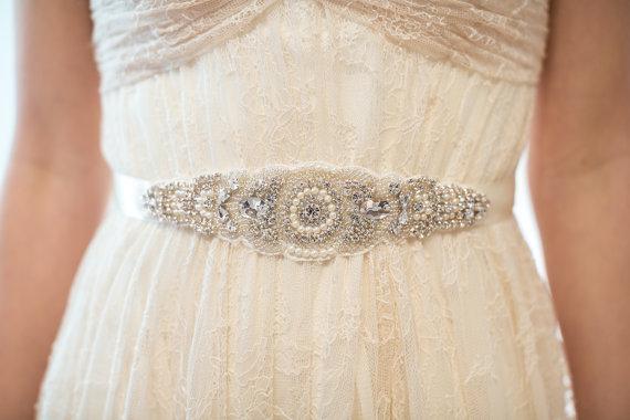 Hochzeit - Bridal Gown Sash, Wedding Dress Sash, Rhinestone  Beaded Sash - New