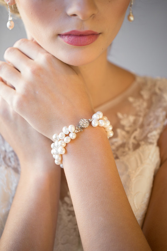 Wedding Bracelet Freshwater Pearl Bridal Jewelry With Matching Earrings New