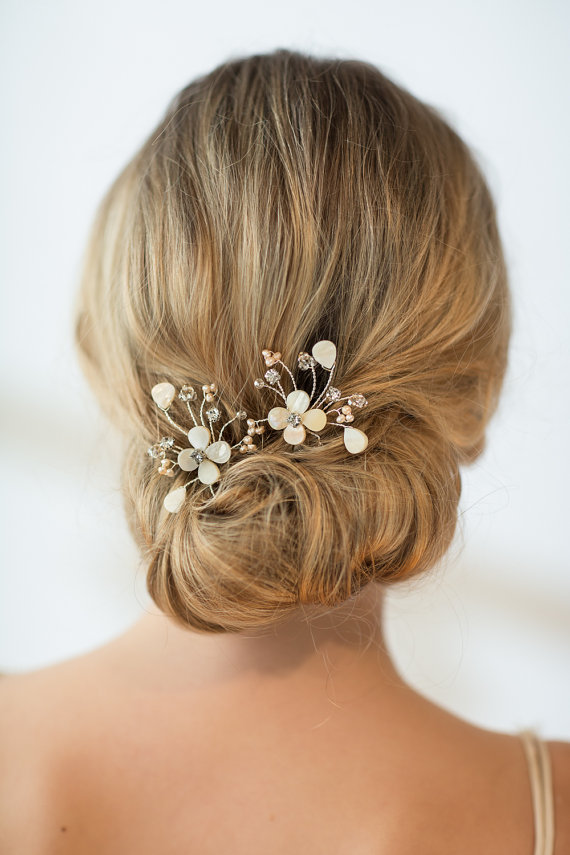 Bridal Hair With Pins : Wedding hairpins bridal mother of pearl