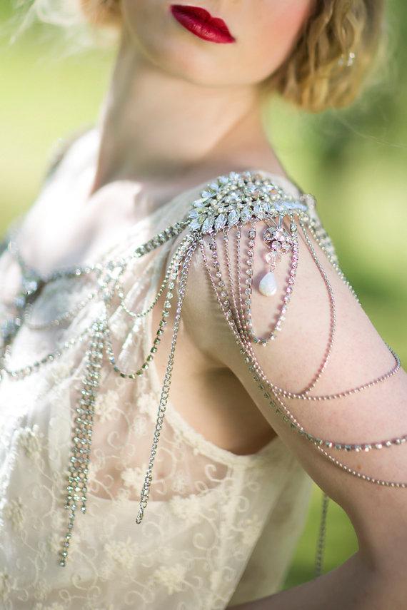 Mariage - Bridal Rhinestone Shoulder Jewelry , Crystal Epaulettes, Wedding Dress Accessory - New