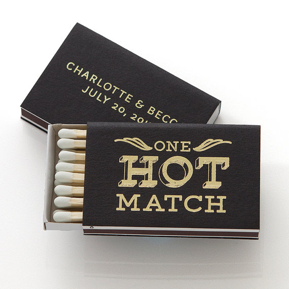 Свадьба - ONE HOT MATCH Personalized Match Boxes -  Min of 25 -Wedding Favors