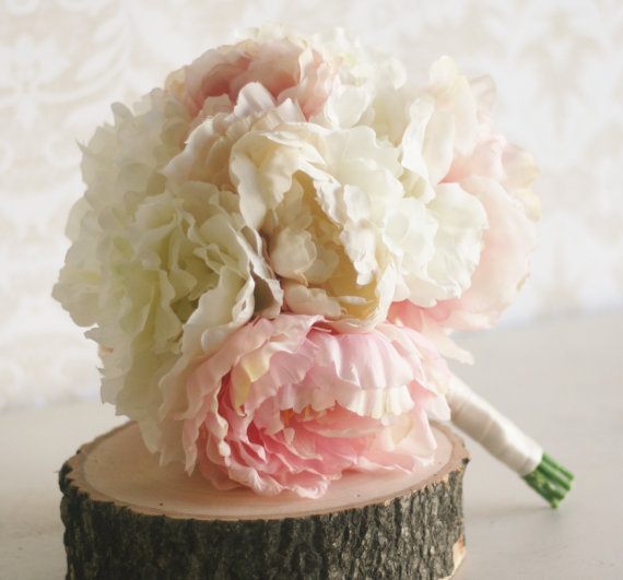 Silk Bride Bouquet Peony Flowers Peonies Shabby Chic Wedding ...
