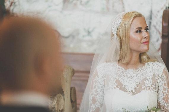 زفاف - Fitted Style Lace Long Wedding Dress with Lase Sleeves M38 -  Ivory Lace Wedding Gown