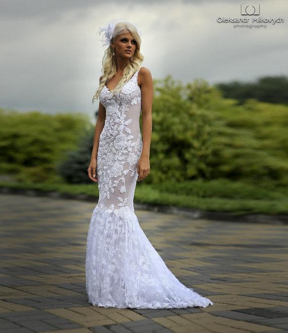 زفاف - Lace Long Wedding Dress with Puddle Train -  Tulle Wedding Dress with Handmade Embellishments by Lace