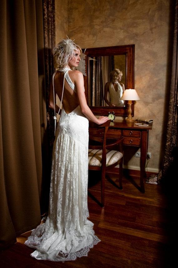 زفاف - Lace Long Wedding Dress with Open Back in Retro Style -  Long Wedding Gown with Train