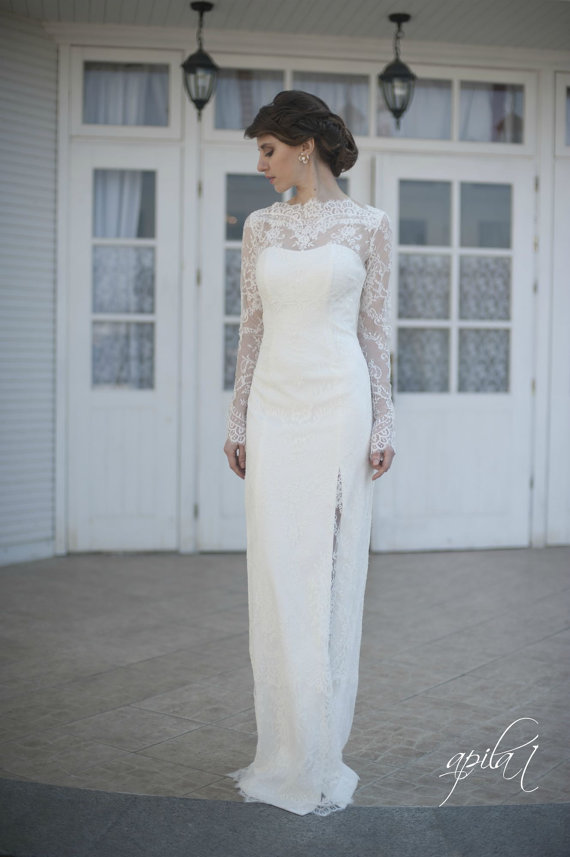 Ed Style Lace Long Wedding Dress With Lase Sleeves L38 Ivory Gown New