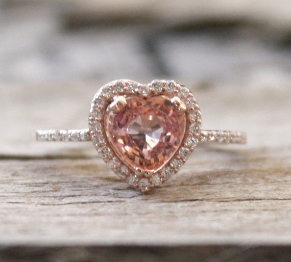 Mariage - 1.28 Ct Padparadscha Heart Sapphire Halo Ring in 14K Rose Gold - New