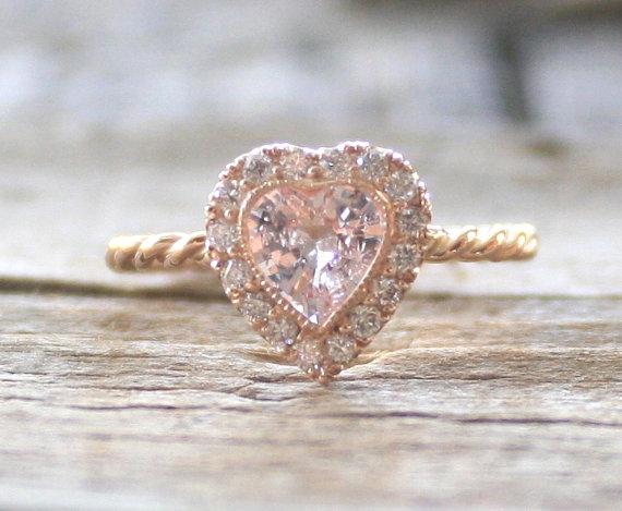 4cc54b4a970dd Heart Shaped Light Pink Sapphire Diamond Halo Ring In 14K Rose Gold ...